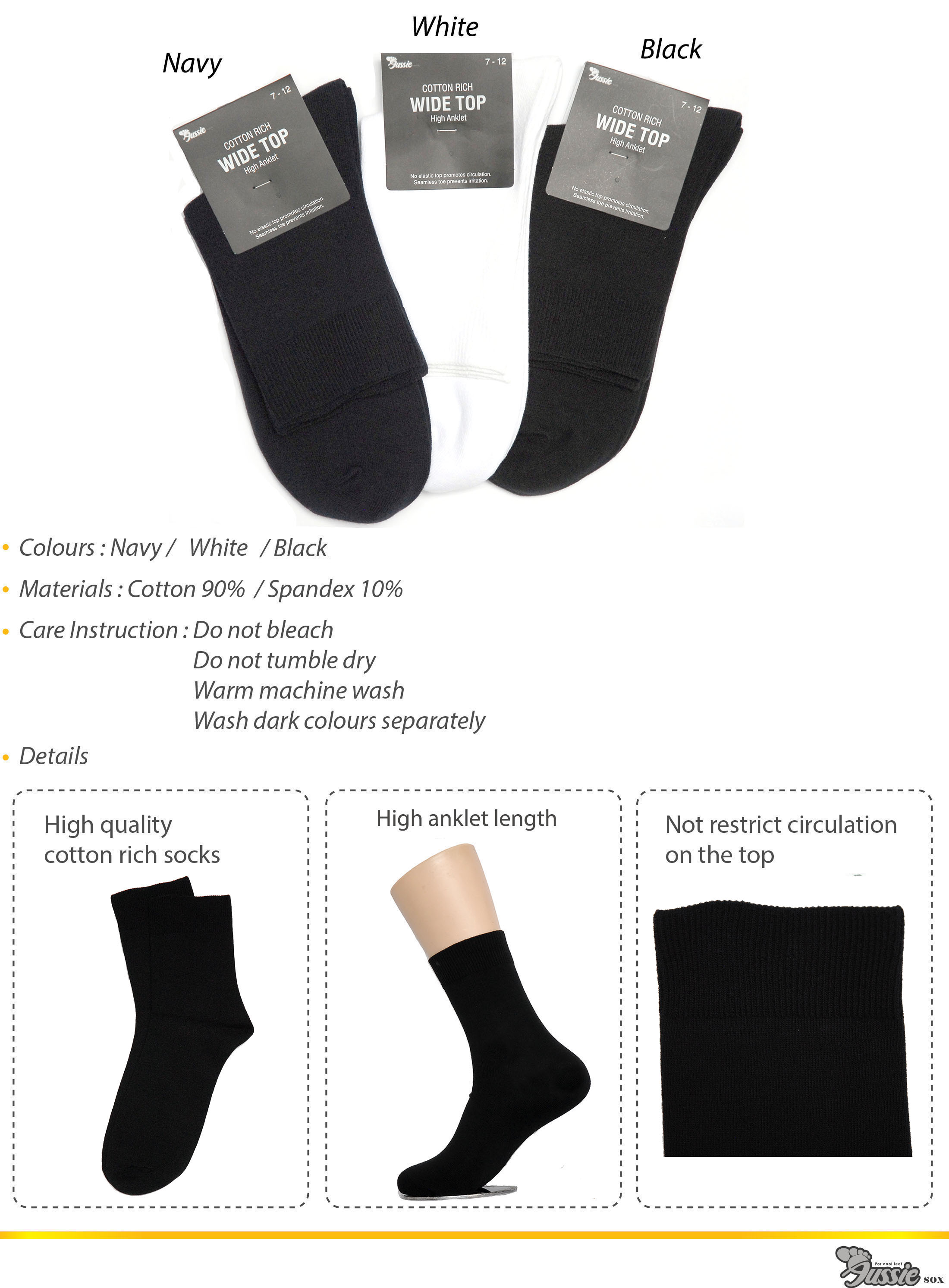 Hi anklet wide top socks in three different colours.