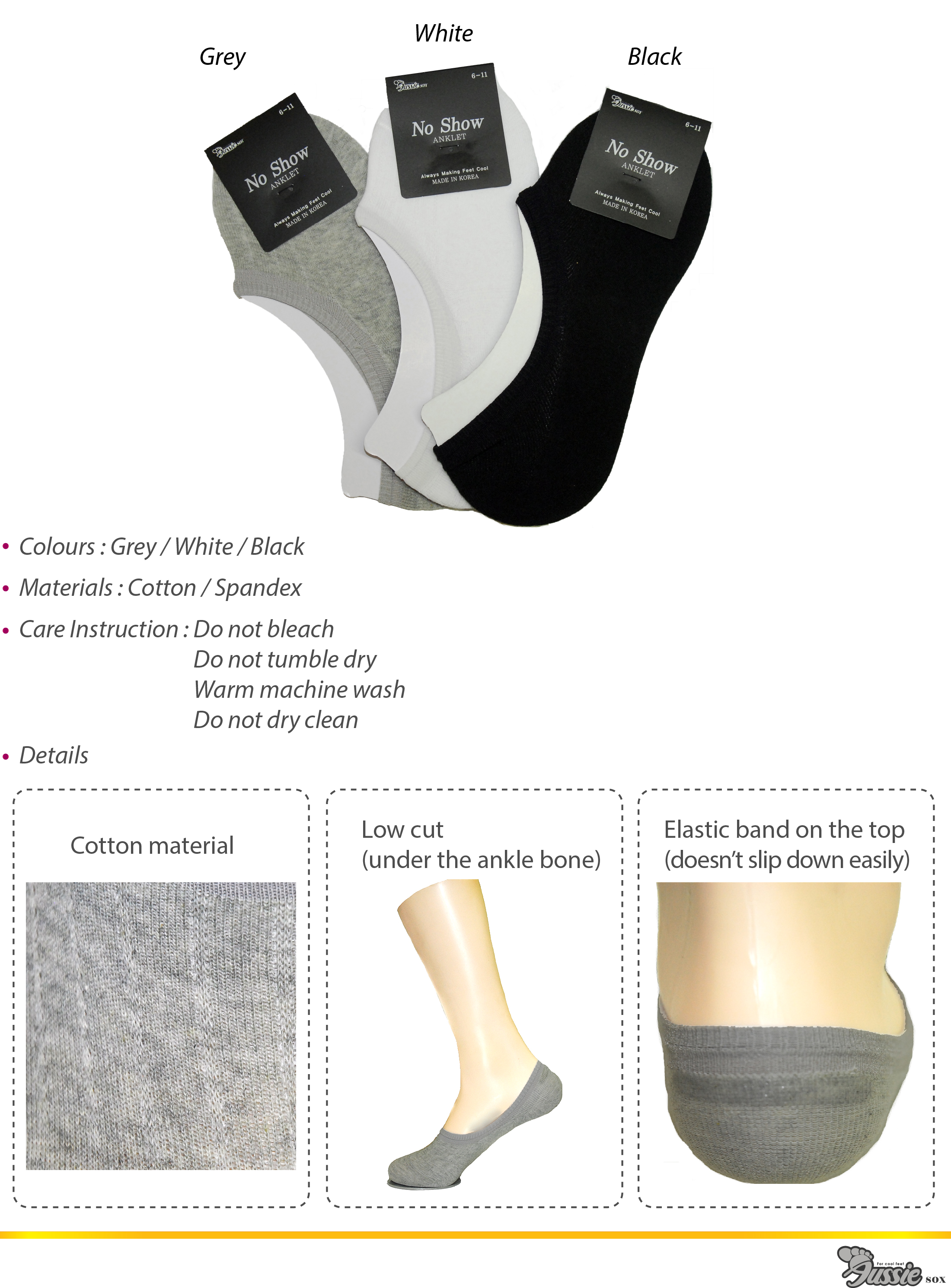 Invisible Socks in a wide range of colours.